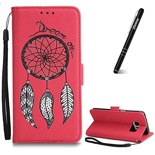 Lederhülle für Galaxy S7 Ledertasche,Galaxy S7 Handyhülle,Slynmax Glitzer Tasche Windspiel Holster Rot Schutzhülle PU Leder Flip Case Weiche Silikon Bookcase Klappetui Kompatibel mit Samsung Galaxy S7