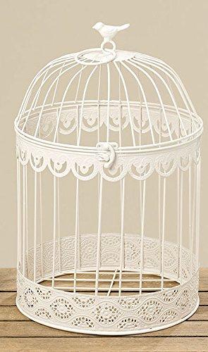 Cage à oiseaux décoratifs en métal blanc (39cm)