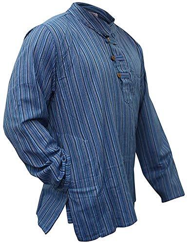 Multi Farben Mix dharke Streifen leicht bequem langärmlig traditionell Großvater Shirt, Hippy Boho , S M L XL XXL XXXL - N. blau, Medium - Herren-multi-streifen-shirt