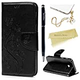 Mavis's Diary Samsung A5 Case ,Samsung Galaxy A5 Case (2017 Model) - PU Leather Wallet Flip Cover Classy Butterfly Flowers Embossed Design Magnetic Closure Card Holders Case with Hand Strap & Butterfly Dust Plug & Stylus Pen - Black