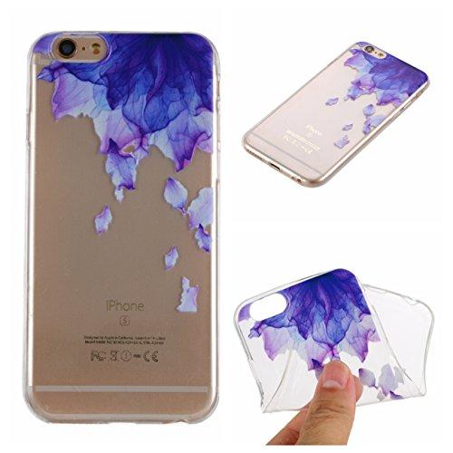 iPhone 6S Hülle, Voguecase Silikon Schutzhülle / Case / Cover / Hülle / TPU + PC Gel Skin für Apple iPhone 6/6S 4.7(Grüne Blätter) + Gratis Universal Eingabestift Lila Blumen 04