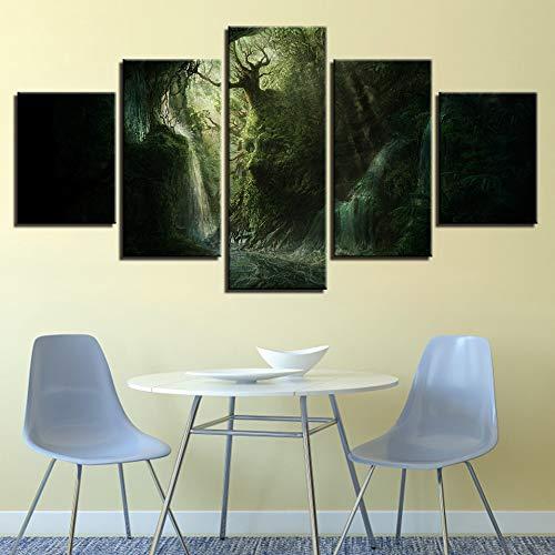 zfkdsd Wandbild Arbeit Malerei Kunst Modular HD Gedruckt 5 Stücke Abstrakte Gesichtsform Baum Landschaft Leinwand Bild Wohnzimmer Wanddekoration (Rahmen)-M