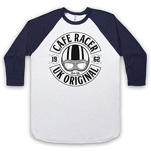 Cafe Racer UK Original Motorcycle Ton Up 3/4 Hulse Retro Baseball T-Shirt Weis & Ultramarinblau