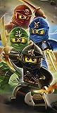 "Lego Ninjago Badetuch ""Motiv Ready"" 70 cm x 140 cm Neu & Ovp - Strandlaken - Strandtuch - Handtuch - 100% Baumwolle - Cole - Jay - Kai - Lloyd - Zane - Nya - Misako - Sensai Wu"