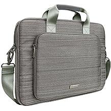"""Evecase - Maletín para HP 15-f111DX 15.6"""" Bolsa Mensajero acolchado con correa de hombro y manijas para Ordenador Portátil, color gris"""