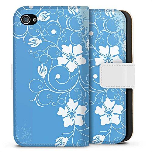 Apple iPhone X Silikon Hülle Case Schutzhülle Muster Blume Blau Sideflip Tasche weiß