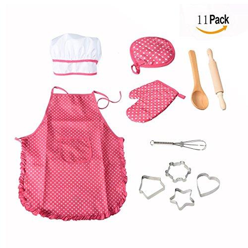 OFKPO Kids Pretend Gioca 11 pezzi di Giocattoli Set, Completa Bambini Cucina Regalo Playset,Chef Gioco di Ruolo Set con Vestiti e Accessori per la Cucina