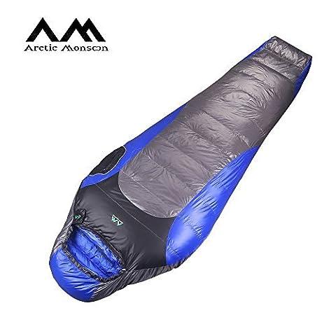 Arctic Monsoon Mumienschlafsack Tragbarer Daunenschlafsack Schlafsack mit Reißverschluss 3/4 Jahreszeiten (bis 0°C)
