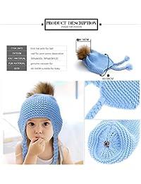 HuntGold bébé chapeau tricoté casquettes chaud hiver boules de poils bonnet d'enfant bleu clair