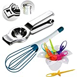 Combo Of Stainless Steel Lemon Squeezer, Barbie Doll Fruit Fork With Magic Whisk Cum Beater