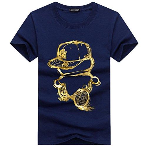 NiSeng Herren Casual T-Shirt Niedlich Cartoon Bilder Druck T-Shirt Teenager Kurze Ärmel Rundhals T-Shirt Blau