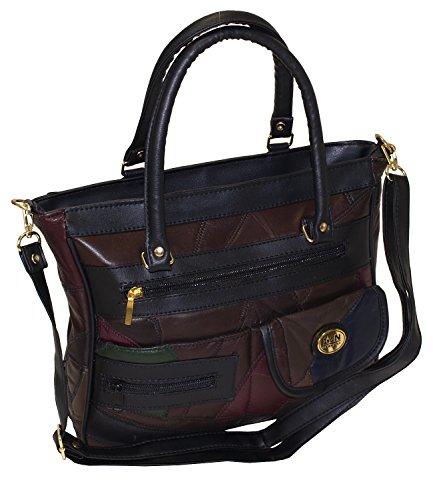Damen Patchwork Handtasche Vintage Tasche mit zusätzlichem verlängerbaren Henkel Henkeltasche Shopper Schultertasche Umhängetasche Mehrfarbig DH0005 (Mehrfarbig) (Patchwork-shopper)