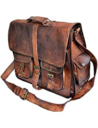 Vintage Handmade Genuine Brown Leather Laptop And Messenger Bag And Office Bag For Znt Bags