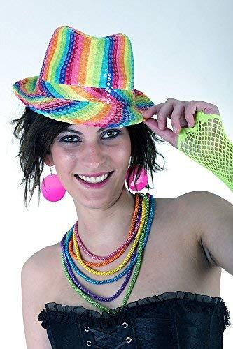Orlob Handelsgesellschaft mbH Cappello arcobaleno copricapo 58 tendenza cappello neon party colorato anni '80 anni '90 carnevale