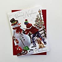 Christmas Card (JJ6034) Special Nephew - Boy and Dog Building a Snowman - Velvet Wishes