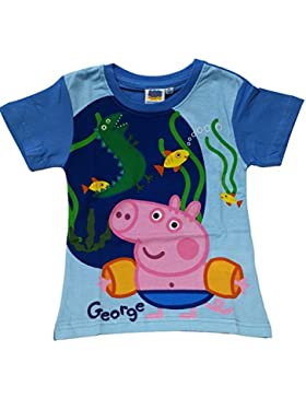 ANTHER Camiseta Infantil Unisex para Niños George Peppa Pig Color Azul Manga Corta 100% Algodón