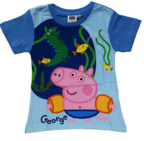 Camiseta Infantil Unisex para Niños George Peppa Pig Color Azul Manga Corta 100% Algodón (2 Años, Azul)