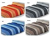 SpazioTessile Copriletto Estivo Copridivano 100% Cotone Piquèt Fascie Colorate (Arancio, 1 Piazza e Mezza)