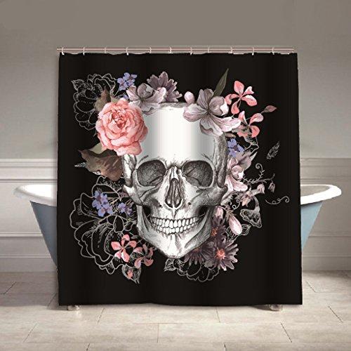 Calavera–Cortina de ducha (Anti moho verdickt resistente al agua ducha cortina para cuarto de baño, 150cm*180cm