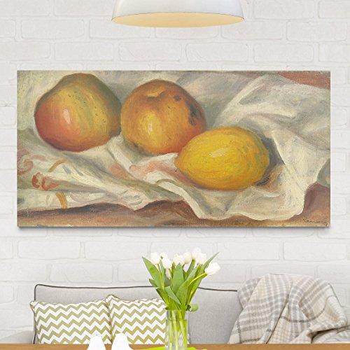 Reifen-servietten (Bilderwelten Leinwandbild - Auguste Renoir - Zwei Äpfel und eine Zitrone - Quer 1:2 Leinwand Leinwandbild XXL Leinwanddruck Wandbild, Größe HxB: 50cm x 100cm x 2cm)