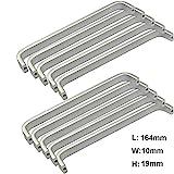 Qrity 10x Mini Maniglie per Ante di mobili in Alluminio, Viti Incluse (Lunghezza:164MM, Larghezza: 10mm)