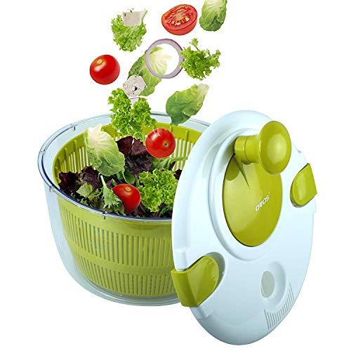 YMMONLIA Essoreuse à Salade et Légumes Grande Capacité (5L) Efficace et Facile avec Nouveau Système de Poignée - Design Innovant avec Grille d'Evacuation d'eau - 2 en 1: Utilisable en Saladier