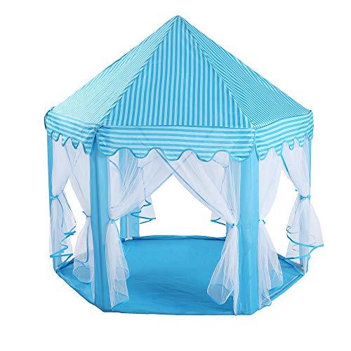 TENCMG Princess Castle Zelt - Großes Spielhauszelt - Puppenhaus Outdoor und Indoor Spielhauszelt - Für 1-8 Jahre alte Kinder,Blue,53x55in