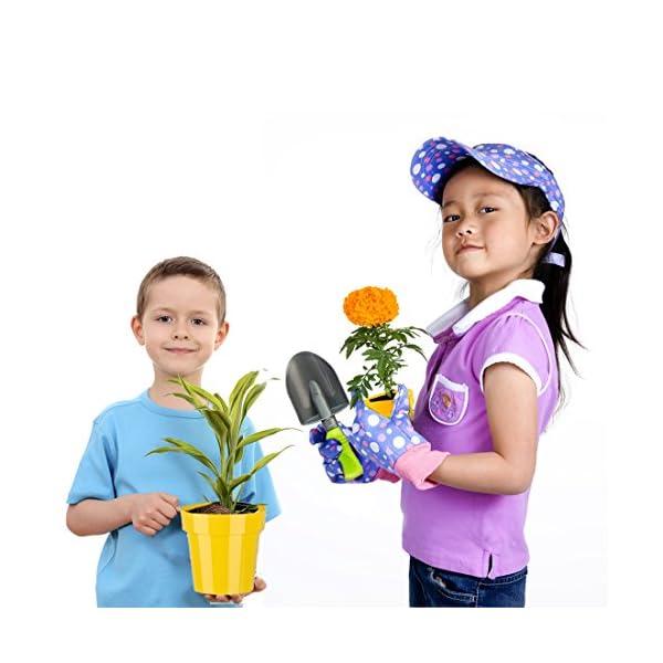 deAO-Carriola-e-Attrezzi-da-Giardino-per-Bambini-Gioco-di-Botanica-e-Giardinaggio-Infantile-Set-Include-10-Accessori-e-4-Vasi-da-Fiori