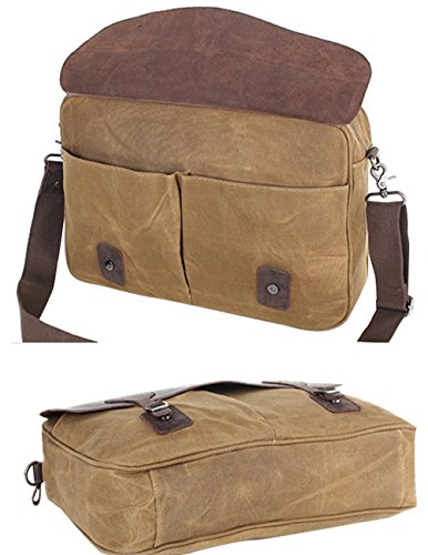 Menschwear Impermeabile Vintage Canvas Messenger Bags Casual Spalla Dell'imbracatura Pacchetto Daypack Verde Scuro Beige