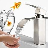 Edelstahl Wasserhahn Waschbecken Einhebelmischer Waschtischarmatur Wasserfall Bad Armatur für Badezimmer Waschbecken