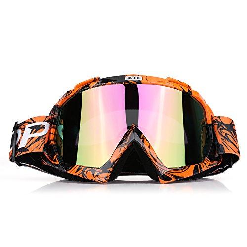 Qiilu Dirt Bike Occhiali da Sole di Protezione Maschera Occhialoni per Attività Esterna Motocicletta (Other Orange)
