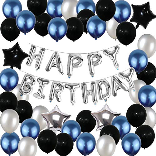 Yoart Geburtstag Dekorationen, Blau Schwarz und Silber Party Ballons für Jungen Männer Mädchen Frauen 68 Stück mit Happy Birthday Banner Folienballons Latexballons für 13. 16. 18. 21. 30. 40 (Ballons Happy Birthday Schwarz)