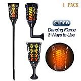 CINOTON Solarleuchten Solar Fackel Garten Licht Lampe 96 LED Flackerlicht Tanzen Flamme für Dekoration Festival Atmosphäre im Freien Wasserdicht (Schwarz 1PCS)