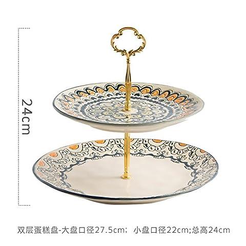 Creative American Ceramic Double Layer Cake Plate, Fruit Plate, Underglaze Color Hand-Painted Steak Dish, Salad Plate, Bread Plate,