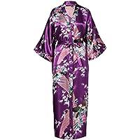 ArtiDeco Vestido Kimono Pijama de Seda Novia Kimono de Seda Ropa de dormir de Satén Estampado Pavo Real