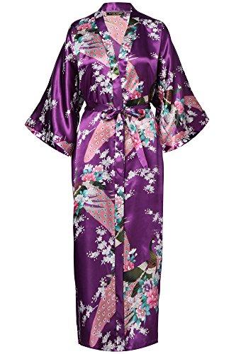 BABEYOND Damen Morgenmantel Maxi Lang Seide Satin Kimono Kleid Pfau Muster Kimono Bademantel Damen Lange Robe Schlafmantel Girl Pajama Party 135cm Lang (Dunkel Lila)
