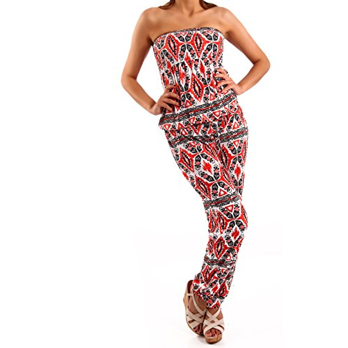 Made in Italy Ikat-Print Bandeau Overall Jumpsuit Hosenanzug 34-38 Rot