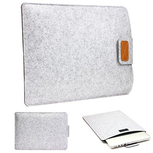 Urcover 12 Zoll (37 cm) Filz Laptop Tasche und Tablet Hülle passend für Ihr iPad, Lenovo Tablet, Samsung Tab, Netbook und viele weitere Mobile Endgeräte Hell Grau