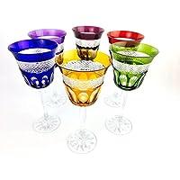 Verres à vin handmade, Service 6 verres (20 cl), verres Roemer, signés Cristal Klein 54120 Baccarat, idée cadeaux.