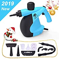 MLMLANT Handheld Pressurized Steam Cleaner with 11-Piece Accessory Set - Multi-Purpose and Multi-Surface All Natural, Chemical-Free Steam Cleaning for Home, Auto, Patio, More (Blue)