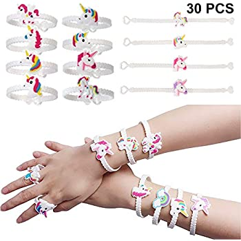 BigLion Party Bag Fillers Unicorn Gifts Unicorn Wristbands Bracelets for  Unicorn Party Birthday Gifts for Kids Girls Boys 30Pcs