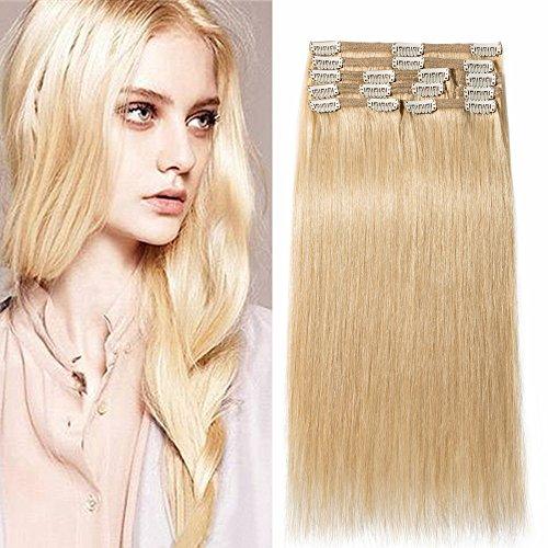 30cm extension capelli veri con clip doppia tessitura double volume lunga 12