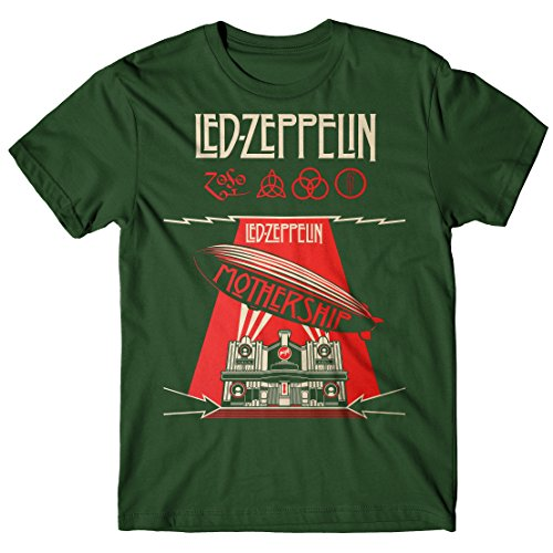 Camiseta Hombre Led Zeppelin - Mothership Camiseta Rock 100% algodòn LaMAGLIERIA,L , Verde