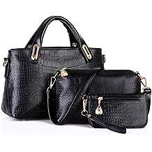 Bolso, Manadlian Mujer Bolso Bolsas de hombro Bolso de mano Cuero Messenger Hobo Bag (32cm x 13cm x 20cm, Negro)