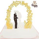 PaperCrush® Pop-Up Karte Hochzeit Brautpaar *Einführungspreis* - Besondere Popup Hochzeitskarte, Glückwunschkarte zur Hochzeit - Handgemachtes Hochzeitsbillet inkl. Umschlag