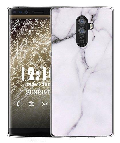 Sunrive Für DOOGEE Mix 2 Hülle Silikon, Handyhülle matt Schutzhülle Etui Case Backcover für DOOGEE Mix 2 5,99 Zoll(TPU Marmor Weißer)+Gratis Universal Eingabestift