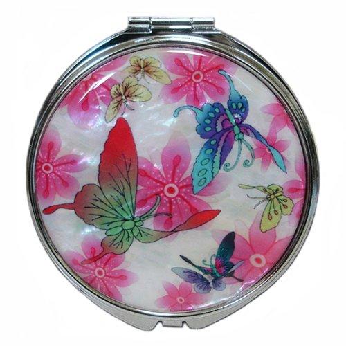 Nacre de rose Blanc maquillage Compact Miroir à main pour femme Motif Papillon