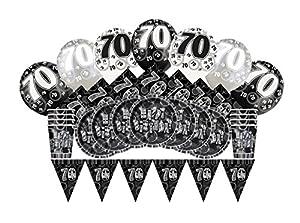 Unique Party Kit de fiesta de 70 cumpleaños para 8 Color negro brillante 83128