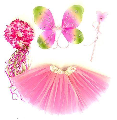 Tante Tina - Schmetterling Kostüm für Mädchen - 4-teiliges Set - Feenflügel / Schmetterlingsflügel Verkleiden - Pink/Grün mit Haarkranz