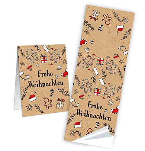 50 lange Weihnachtsaufkleber LEBKUCHENMANN Kraftpapier rot schwarz beige weiß Aufkleber Weihnachten 5 x 15 cm kleine Geschenkaufkleber Verpackung Geschenke weihnachtlich Papiertüte zukleben
